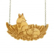 foxes in the forest necklace wb