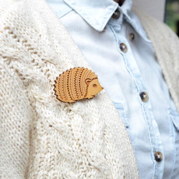 hedgehog woodland brooch by layla amber