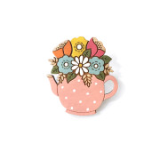 Flowers in a pink spotty teapot Brooch Layla Amber