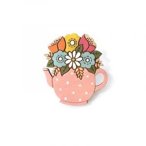 Flowers in a pink spotty teapot Brooch Layla Amber