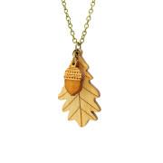 layla amber leaf acorn necklace