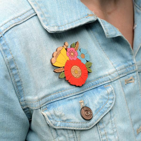 poppy posy brooch by layla amber