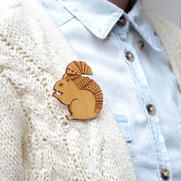 squirrel woodland brooch by layla amber