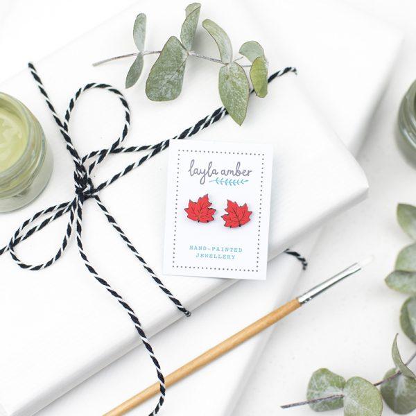 layla amber maple leaf earrings