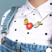 poppy wild flower necklace wearing 2