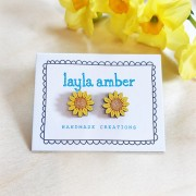 sunflower stud earrings on card
