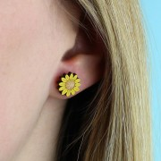 sunflower stud earrings wearing