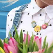 sunflower wild flower necklace wearing 1