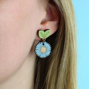 wild cornflower drop earrings wearing