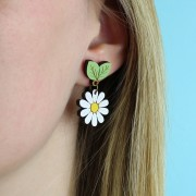 wild daisy drop earrings wearing
