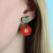 wild poppy drop earrings wearing