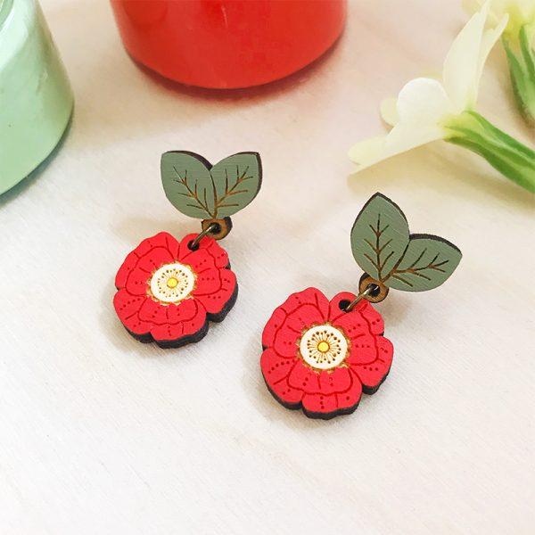 layla amber poppy drop earrings