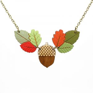 Layla Amber Autumn leaves and acorn necklace
