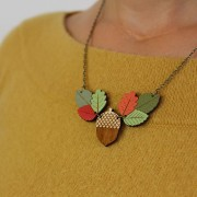 autumn leaves and acorn necklace wearing