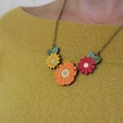 autumn wildflower necklace wearing