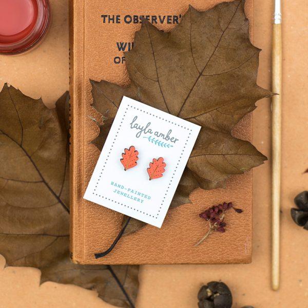 layla amber oak leaf earrings