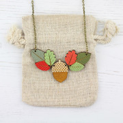acorn and leaves necklace