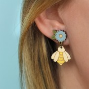Bee and Flower drop Earrings