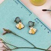 Flower & Bee Drop Earrings 2