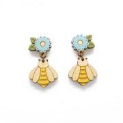 Flower & Bee Drop Earrings_wb