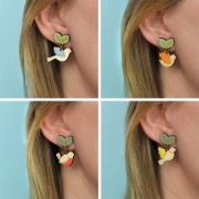 flying bird earrings wearing