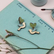 flying blue bird earrings2