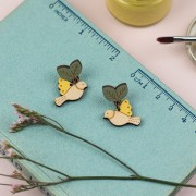 flying yellow bird earrings 2