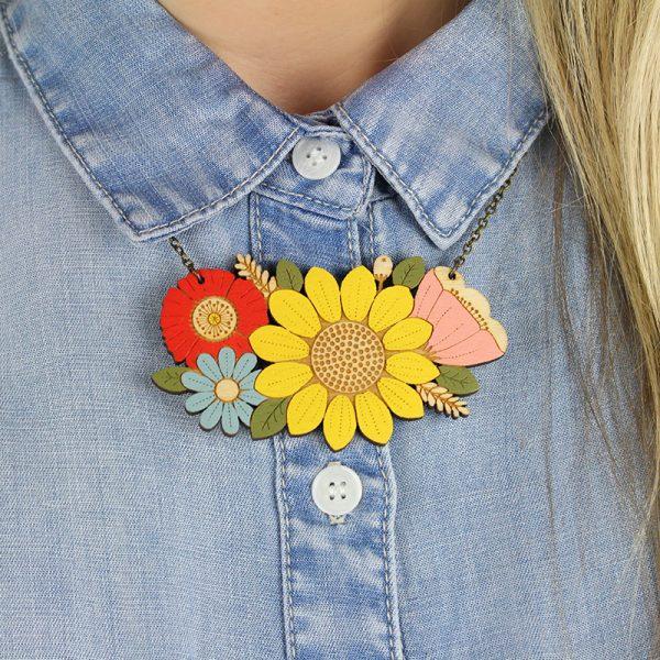 layla amber sunflower necklace