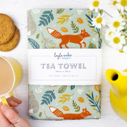 fox tea towel flat lay