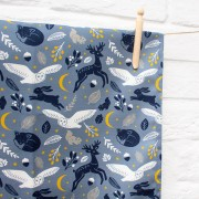 moonlit forest tea towel 1