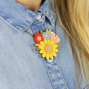 sunflower posy necklace wearing