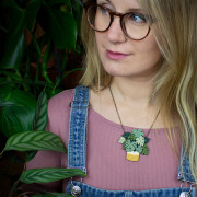 Monstera Necklace Wearing