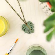 Monstera Leaf Necklace 3